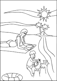 family beach coloring page wecoloringpage
