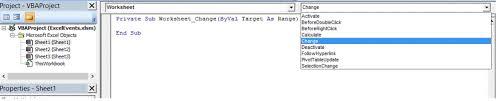 excel vba events event procedures handlers triggering a vba macro