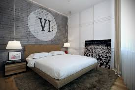 bedroom interesting bachelor bedroom ideas with brick wall paint