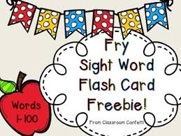 words cards fry sight word flash cards freebie 1 100 by classroom confetti tpt