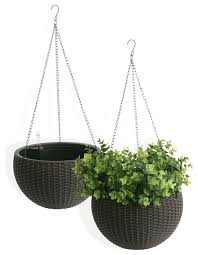 algreen hanging planter self watering wicker brown set of 2