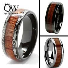 wood inlay wedding band queenwish 8mm black slivering tungsten carbide ring koa wood inlay