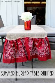 how to make table runner at home summer burlap table runner the country chic cottage