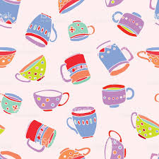 cute mugs and cups background stock vector art 529413672 istock