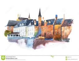 traditional european houses watercolor cityscape traditional architecture of european houses