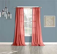 Sheer Coral Curtains No 918 Open Weave Cotton Sheer Curtain Panel 50