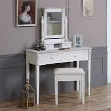 cream wooden dressing table set mirror stool shabby french chic