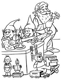 elves and santa christmas coloring pages for kids christmas