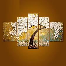 5 piece canvas wall art hand painted palette knife oil yeesam art huge white fruit tree 100 handmade landscape