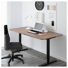 Ikea Office Bekant Desk Sit Stand Black Brown White Ikea