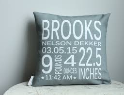 birth stat pillow cover personalized grey coral modern hipster