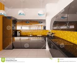 interior design of modern kitchen 3d render royalty free stock