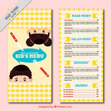 children menu template with tablecloth design free vector food