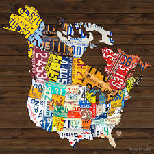 Flat Map Of The United States by License Plate Map Of North America Canada And United States