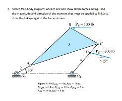 sketch free body diagrams of each link and show al chegg com
