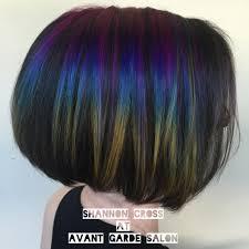 oil slick hair rainbow hair gainesville color melt short hair
