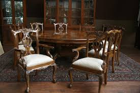 Round Dining Room Set Large Round Walnut Dining Room Table With Leaves Seats 6 10 People