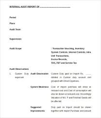 18 internal audit report templates free sample example format