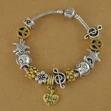 woman bracelet images B1362 heart shaped pendant cute beading woman bracelet silverac jpg