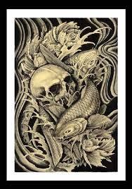 koi skull clark north japanese traditional tattoo framed art print