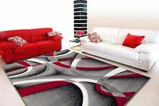 2305 gray black red white swirls 52 x72 modern abstract area rug