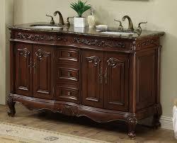 Antique Looking Vanities 60 Inch Antique Style Double Sink Bathroom Vanity Cabinet With