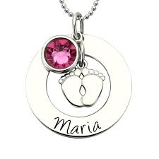 Personalized Necklaces For Moms Baby Feet Necklace With Birthstone Gold Color Personalized Mother