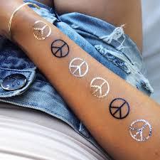 finger tattoo peace peace metallic temporary party flash tattoos