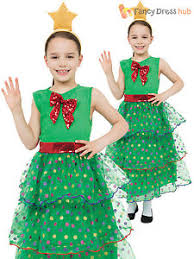 girls christmas tree costume childs xmas fancy dress kids novelty
