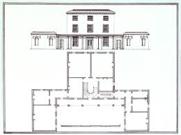 ground plan and elevation of a three storey building with scale