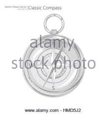 sketch style vector illustration of a compass outline version
