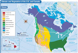 us climate map the united states and canada climate and vegetation