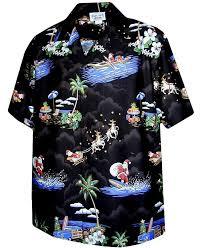 exclusive christmas hawaiian shirt with santa surfing at amazon