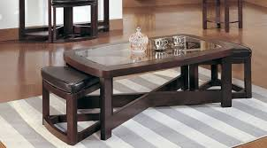 Furniture Wood And Glass Coffee Table Sets Coffee Table With Stools - Living room table set