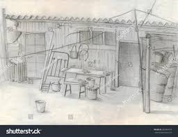 rustic barn pencil drawing sketch stock illustration 369904775
