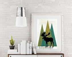 Christmas Moose Home Decor Moose Art Etsy