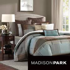 Jaclyn Smith Comforter Madison Park Davenport Blue Brown 8 Piece Comforter Set
