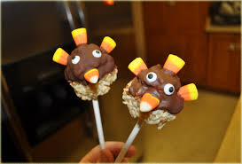 thanksgiving rice krispies turkey pop treats
