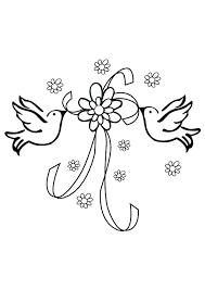 dessin mariage coloriage mariage deux colombes et un ruban