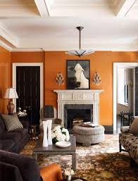 orange living room a living room decorated by nick olsen photo via anik pearson