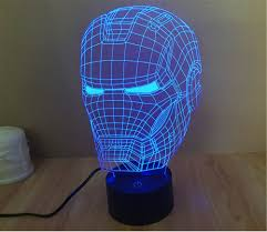3d Lamps Amazon Smartera 3d Optical Illusion Iron Man Helmet Panel Model Lighting