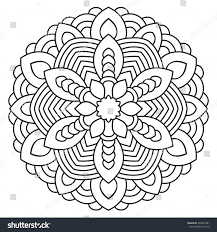 symmetrical mandala coloring page adults turkish stock vector