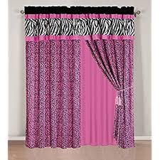 Zebra Valance Curtains Amazon Com 4 Pieces Faux Silk Pink With Black Zebra Window
