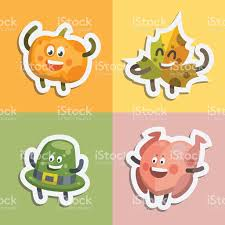 emoticons set stickers icons for thanksgiving day stock vector
