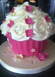 giant cupcake pink and white 1st birthday party pinterest