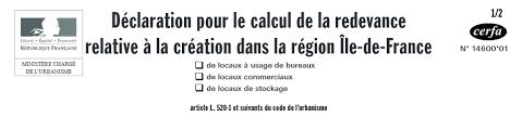 redevance bureaux cerfa n 14600 01 déclaration pour le calcul de la redevance relative