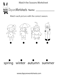 preschoolers have to match each picture with the correct season in