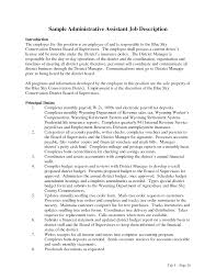 Resume Job Summary by Duties Of An Administrative Assistant Xpertresumes Com
