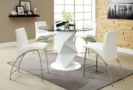 glass counter height table sets 5 pc halawa iii collection contemporary style white finish counter