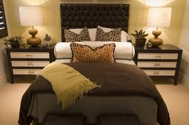 cream and gold small bedroom wood bed frame and headboard